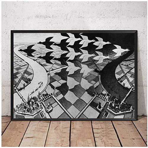 MC Escher Relativiteit Optische Illusie Tekening Poster Schilderij Art Poster Print Canvas Home Decor Foto Muur Canvas -50x70cm Geen Frame