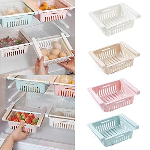 Cdoston 4 STÜCKE kühlschrank Schubladen, Einstellbare Lagerregal Kühlschrank Partition Layer Organizer, Ausziehbare Kühlschrank Schublade Organizer Kühlschrank Aufbewahrungsbox(Rosa/blau/weiß/braun)