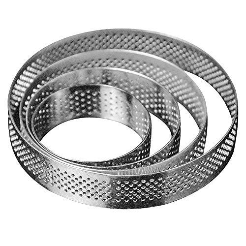 Kuinayouyi Molde circular de acero poroso para torta de torta de torta de torta, herramientas de horneado, resistente al calor, para tartas, mousse y tortitas, 4 unidades