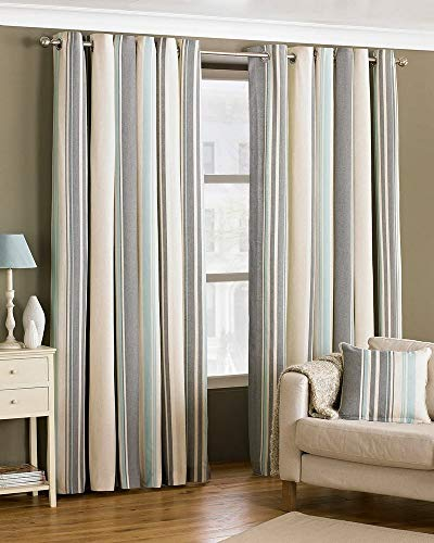 Broadway Stripe Duck Egg Blue Ring Top Curtains 168 x 229