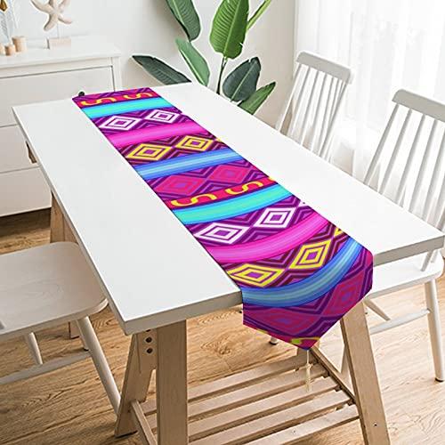 by Unbranded Camino de mesa de 228,6 x 33 cm, decoración de mesa para el hogar, diseño marroquí, étnico indio elegante paralelo, decoración de mesa para boda, cocina, comedor, fiesta festiva