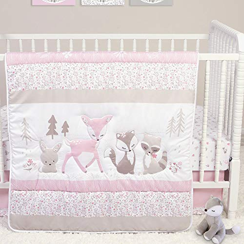 Sweet Forest Friends Woodland Animal Theme Microfiber 4 Piece Baby Girl Crib Bedding Set