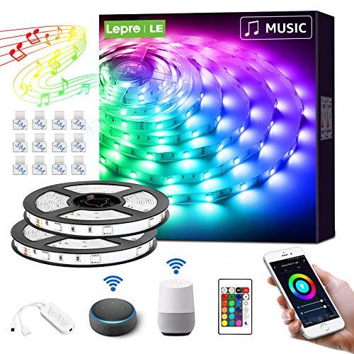 LE Smart LED Strip 10M(2x5M) Musiksteuerung, RGB LED Streifen Wifi, Wlan LED Band, Superhell 5050 Selbstklebend Lichtband, Lichterkette mit Fernbedienung, Kompatibel mit Alexa, App, Google Home