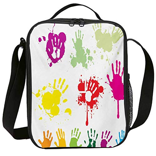 Fashion Lunch Bags with Zipper Insulated Lunchbox for School Girls Graffiti Street Wall Hand Prints