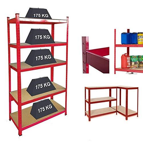 Scaffalature per garage, resistenti scaffalature in metallo per stoccaggio, 5 ripiani per capannoni, officine, magazzini, casa, camera da letto, soggiorno, capacità 875 kg, 150 x 70 x 30 cm