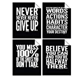 Lushleaf Designs - Motivational Quote Workout Gym Posters - 8' x 10' Inches - Classroom and Office Wall Art - Black Matte Finish - Adhesive Backing Can Stick On Smooth Surfaces - Set of 4