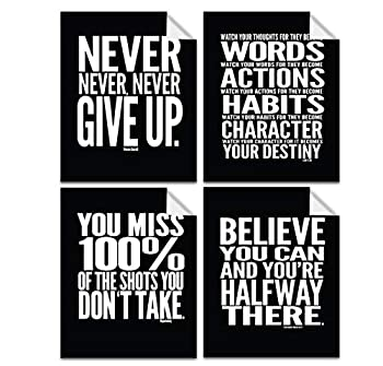 Lushleaf Designs - Motivational Quote Workout Gym Posters - 8  x 10  Inches - Classroom and Office Wall Art - Black Matte Finish - Adhesive Backing Can Stick On Smooth Surfaces - Set of 4