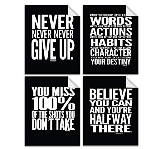 """Lushleaf Designs - Motivational Quote Workout Gym Posters - 8"""" x 10"""" Inches - Classroom and Office Wall Art - Black Matte Finish - Adhesive Backing Can Stick On Smooth Surfaces - Set of 4"""