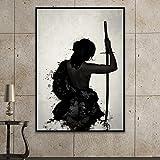 ganlanshu Pintura sin Marco Samurai Moderno Lienzo Abstracto Pintura Mural Imagen de Sala de Estar decoración del hogar Carteles e impresionesAY5495 40X50cm