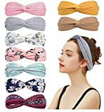 9 Pack Knotted Boho Headbands for Women Fashion Cute Knot Headband Headwraps for Girls Spa Yoga Stretchy Turban Headbands Cute Hair Band Vintage Hair Accessories (Boho Style + Solid Color, Style 03)