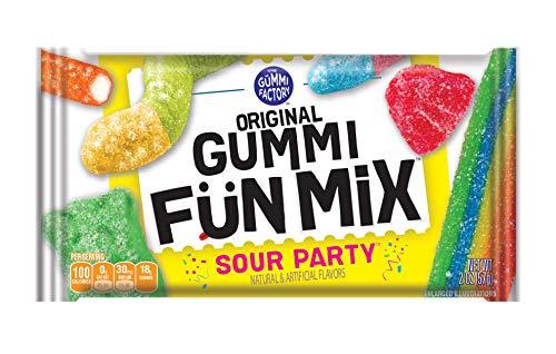 The Gummi Factory Original Gummi Fun Mix, Gummy Candy Snacks, Sour Party, Bulk Pack, 2 oz Individual Single Serve Bags (Pack of 24)