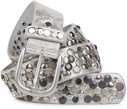 styleBREAKER Nietengürtel im Vintage Design, verschiedenen Nieten und Strass, kürzbar, Damen 03010051, Farbe:Antik-Silber, Größe:90cm