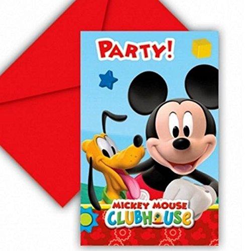 6 invitations carton Mickey Mouse - taille - Taille Unique - 216264