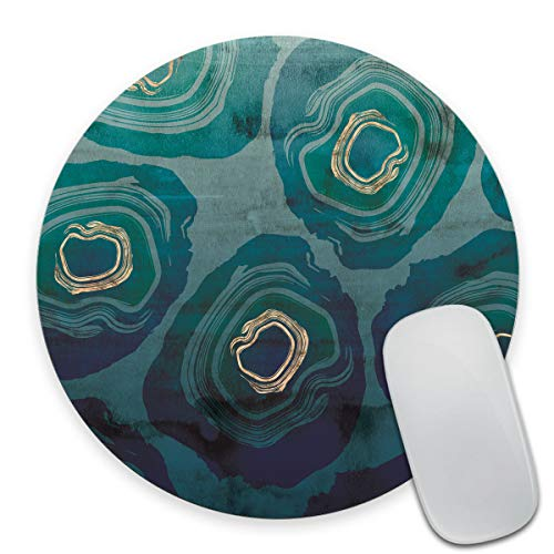 Smooffly Round Gaming Mouse Pad Custom Design, Blue Petrol Watercolor Texture Non-Slip Rubber Circular Mouse Pads Cute Mat