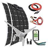 Kit de energía solar eólica de 600 W: generador de turbina eólica de 400 W + paneles solares monocristalinos flexibles de 200 W + controlador híbrido+cables para carga de batería de 12 V 24 V