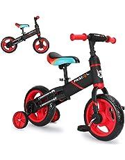 Fascol 3 en 1 Triciclo para Niños de 2 a 6 Años, de Marco Más Grueso y Ancho, con Asiento Ajustable, Bicicleta de Equilibrio con Pedales Desmontables y Ruedas Auxiliares, Carga Máxima 35 kg, Rojo