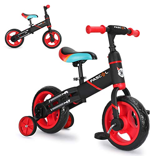 Fascol 3 in 1Triciclo per Bambini Adatto per età 1-6 Anni, Bicicletta Senza Pedali, con cornice spessa e larga, Certificazione CE, Rosso