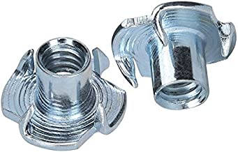 World 9.99 Mall T-Nuts, 1/4-20 T-Nut Pronged Tee Nut for Wood, climbing hold, Cabinetry|Carbon Steel and Zinc Plated Steel Material