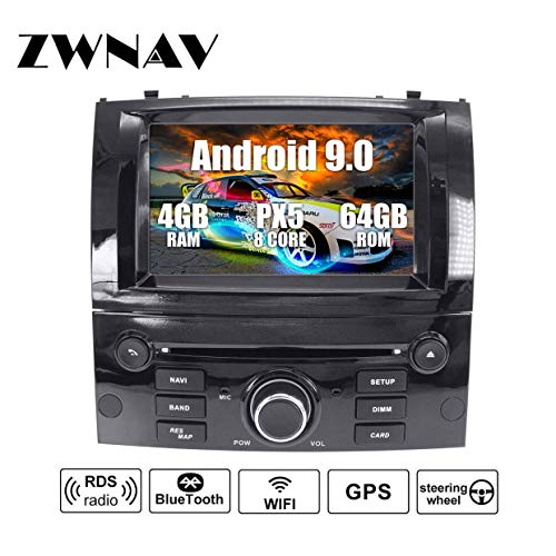 ZWNAV Android 9.0 Car Stereo GPS Navigation HD 1080P Car DVD Player Double DIN For Peugeot 407 2004-2010 with 7 Inch Screen, Radio, Bluetooth, WiFi, OBD