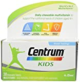 Centrum Kids Multivitamins and Minerals Tablet, 30 Chewable Tablets, Essential Nutrients Vitamins and Minerals to Help Support Nutritional Needs of Children Aged 4+ Vitamin D, Complete from A - Zinc
