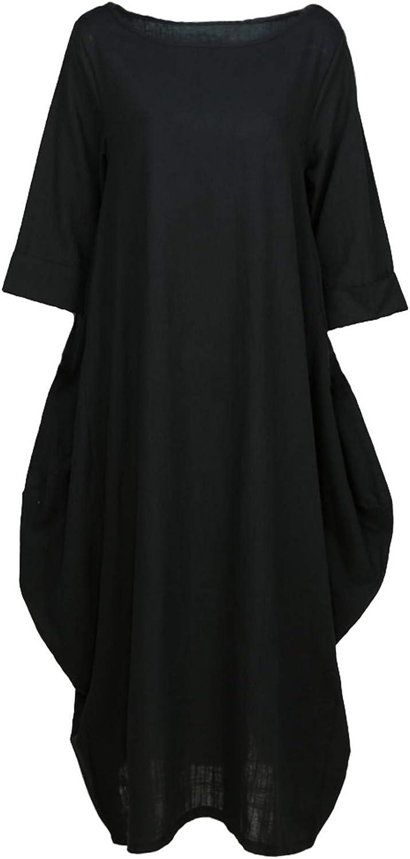 Albina Collins Women Cotton Linen Dress Solid Pocket Round Neck 3 4 Sleeve 5XL Plus Size Dress Loose