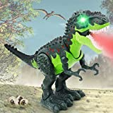 QDRAGON Dinosaur Toys, Electronic Walking T-Rex with Glowing Eyes, Simulated Flame Spray, Water Mist Spray, Realistic Roaring Sounds and Laying Eggs, Tyrannosaurus Rex Toy for Kids 3-5, 18  x10''