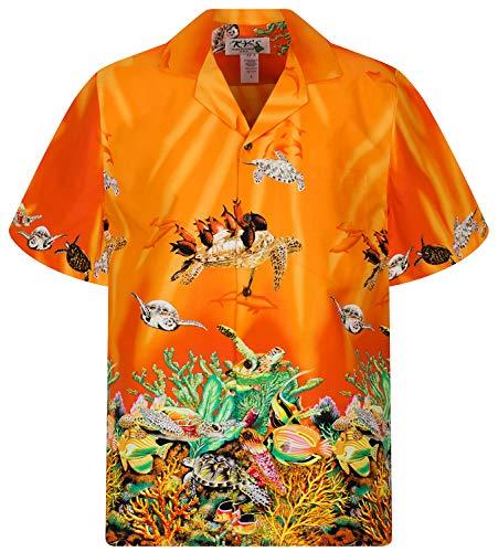 KY´s Original Camisa Hawaiana, Tutles, orange M