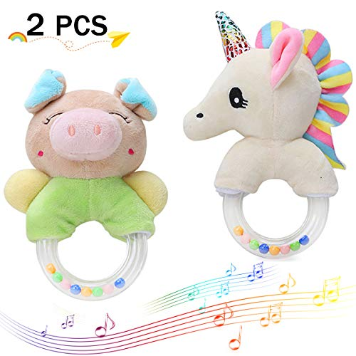 Merveilleux Baby Rattles Cartoon Stuffed Animal Plush Hand Rattle Infant Soft Toys - Pony & Pig