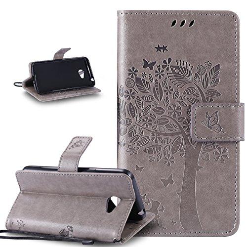Coque LG K5,Etui LG K5,ikasus Gaufrage Embosser Chat papillon Fleur Floral arbre Housse en Cuir PU Etui Housse en Cuir Portefeuille de Protection Flip Case Etui Coque pour LG K5,Gris