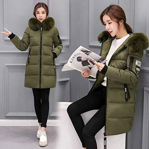 SLM-max Dikke donsjas,mode dames winterlonge secties parka met capuchon warme katoenen slanke jas winterjas, groen, XXL