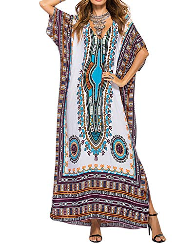 AUDATE Damen Sommer Boho Vintage Maxikleid Casual Strandkleid Kurzarm Sommerkleid Kaftan Kleid Bikini Cover Up Weiß