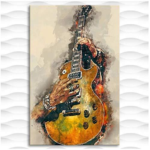 Tbdiberc Cuadro lienzo impreso pintura eléctrica guitarra pared arte cartel para sala...
