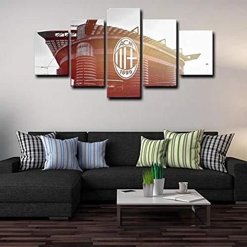 YFTNIPL Regalo Creativo Moderno En Lienzo 5 Piezas Cuadros Decoracion Estadio AC Milán Salon Modernos Arte De La Pared Póster