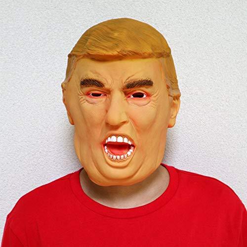 Realistische Berühmtheit Halloween Deluxe Präsident Latex Vollkopf Donald Trump Maske mit Haaren US Halloween Realistische Berühmte Berühmtheit Mensch Braun D
