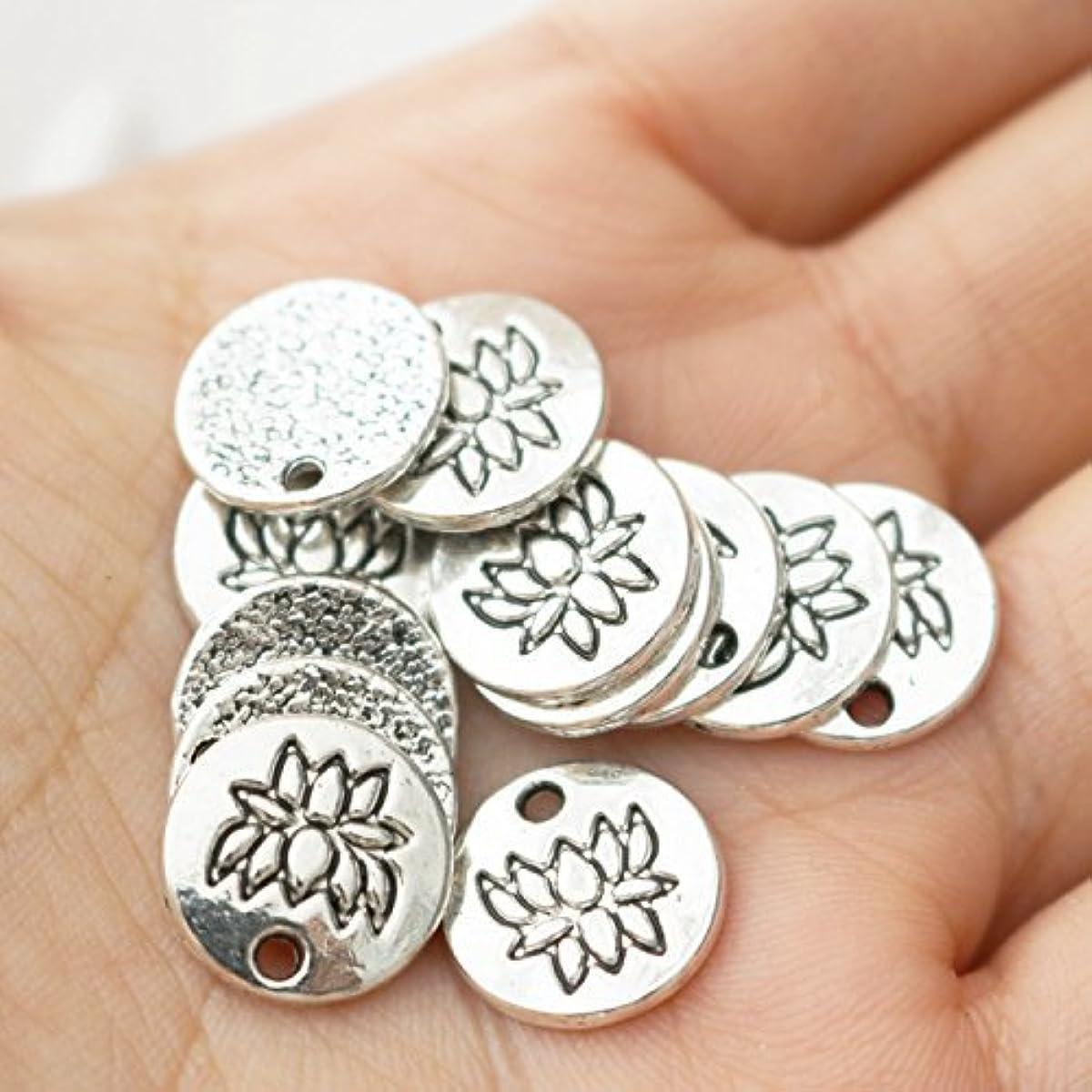 30 PCs Tiny Lotus Pendants Lotus Charm Antique Silver Charm Zen Buddhist Yoga Charms Pendant for Mindfulness Meditation Jewelry (NS617)