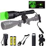 Torche de chasse verte, lampe de poche LED verte de 300 verges avec monture de visée torche tactique zoomable Predator Hog Coyote Light pour vision nocturne Chasse Pressostat et piles incluses