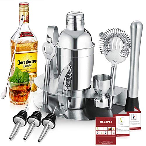 Gomyhom Shaker Cocktail Set 12 Pezzi, 750ml Shaker con Accessori, Kit Barman in Acciaio Inox, Set Cocktail Professionale, Set di Strumenti Bar Jigger Bar Spoon