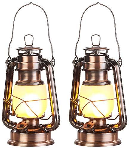 Lunartec Laterne: 2er-Set LED-Sturmlaternen mit Flammen-Effekt, 25 cm Höhe, bronzefarben (Petroleum-Laterne)