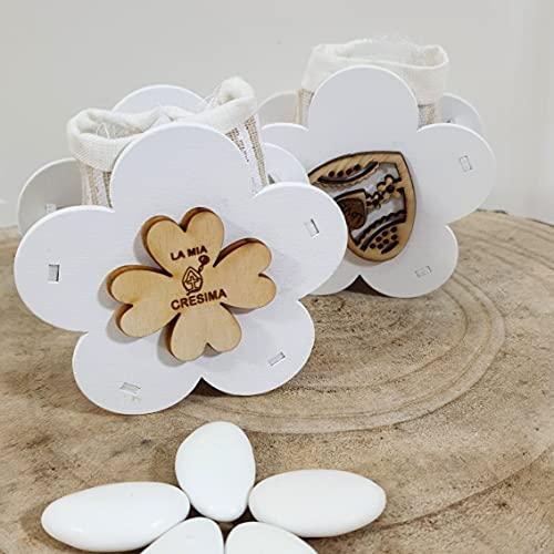 """24 scatoline porta confetti in legno a forma di fiore con applicazione quadrifoglio""""La mia Cresima"""" - Bomboniere Cresima maschio e femmina"""