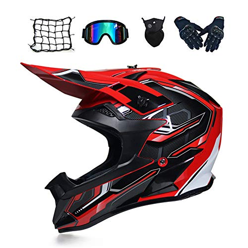 MRDEAR Motorrad Crosshelm Schwarz Rot, Motocross Helm Set mit Brille Handschuhe Maske Motorrad Netz (5 Stück) Fullface Cross Helm Motorradhelm Off Road Downhill ATV Pocket Dirt Bike Helm,Xl