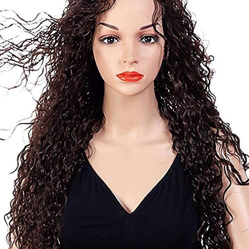 Yuyanshop Encaje frente pelucas de cabello humano para las mujeres negras Pelucas largas rizadas para las mujeres rizado Encaje frente Pelucas Cabello humano (negro)