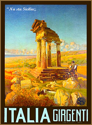 A SLICE IN TIME Agrigento Sicily Italia Girgenti na sta Sicilia Italy Vintage Italian Travel Advertisement Art Poster Print. Poster Measures 10 x 13.5 inches