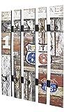 HAKU Möbel Wandgarderobe - Vintageoptik aus Stahl mit 10 Haken, Höhe 100 cm