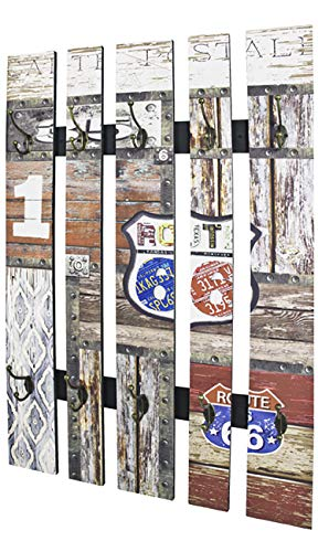 Haku Möbel Wandgarderobe - MDF Dekor Vintageoptik - 10 Haken Höhe 100 cm