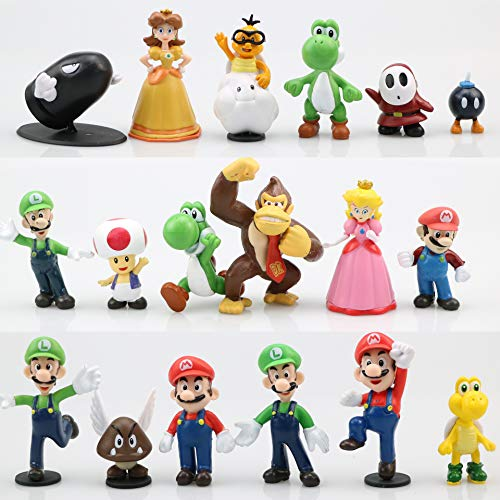 Super Mario Toys – Set of 18 Mario Figures – Mario Action Figures with Movable Heads and Arms – Mario Playset for Playing or Decoration