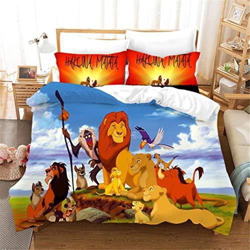 EA-SDN Le Roi Lion - Parure de Lit - Housse de Couette Polyester,Parure de lit 3 pièces en Microfibre pour Enfant (Lion #11,220_x_240_cm)