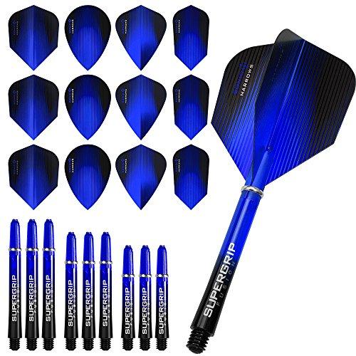 Harrows Sonic Fusion Combo Kit–plumas para dardos y cañas Combo Kit–azul oscuro–incluye dardos esquina bolígrafo con curvas