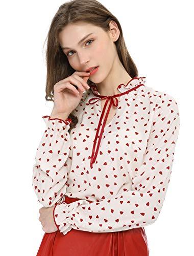 Allegra K Damen Langarm Ruffle V Ausschnitt Polka Dots Top Bluse Beige Rot S