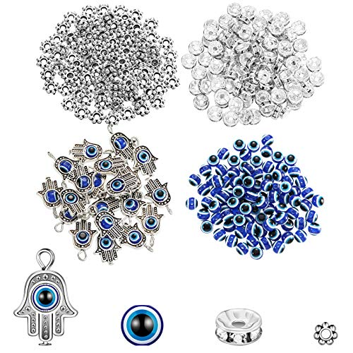 320 Pieces Evil Eye Charms Set Includes 100 Evil Eye Beads 20 Hand Evil Eye Charms 100 Czech Crystal Spacer Bead 100 Plum Shaped Charms Bead for DIY Jewelry Making (Antique Silver)
