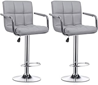 Meja Gray Leather Barstools Adjustable Height Swivel Bar Stools with Back and Armrest for Kitchen Counter Dining Chair Set of 2, Gray